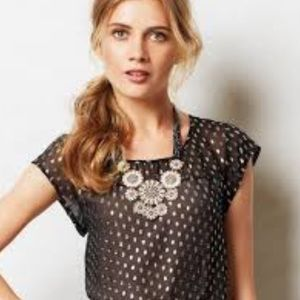 Anthropologie shimmered dot meadow rue top